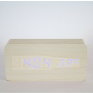 EV275 Reloj rectangular madera blanca luz led