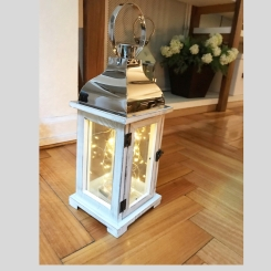 EV522 Farol madera blanco con metal y luces led